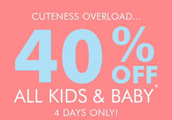 Save 40% off all kids & baby + free shipping Australia wide at Bonds.