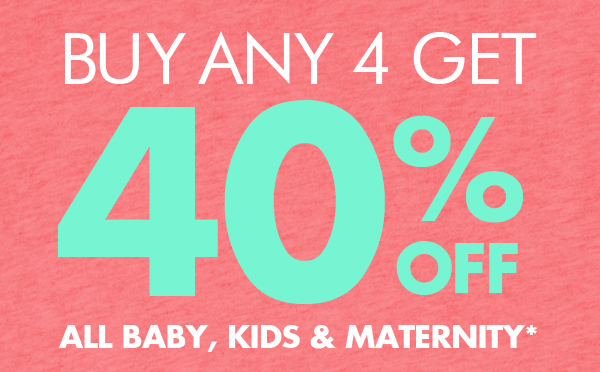 Buy any 4 get 40% off all baby, kids & maternity + free shipping Australia wide at Bonds.com.au